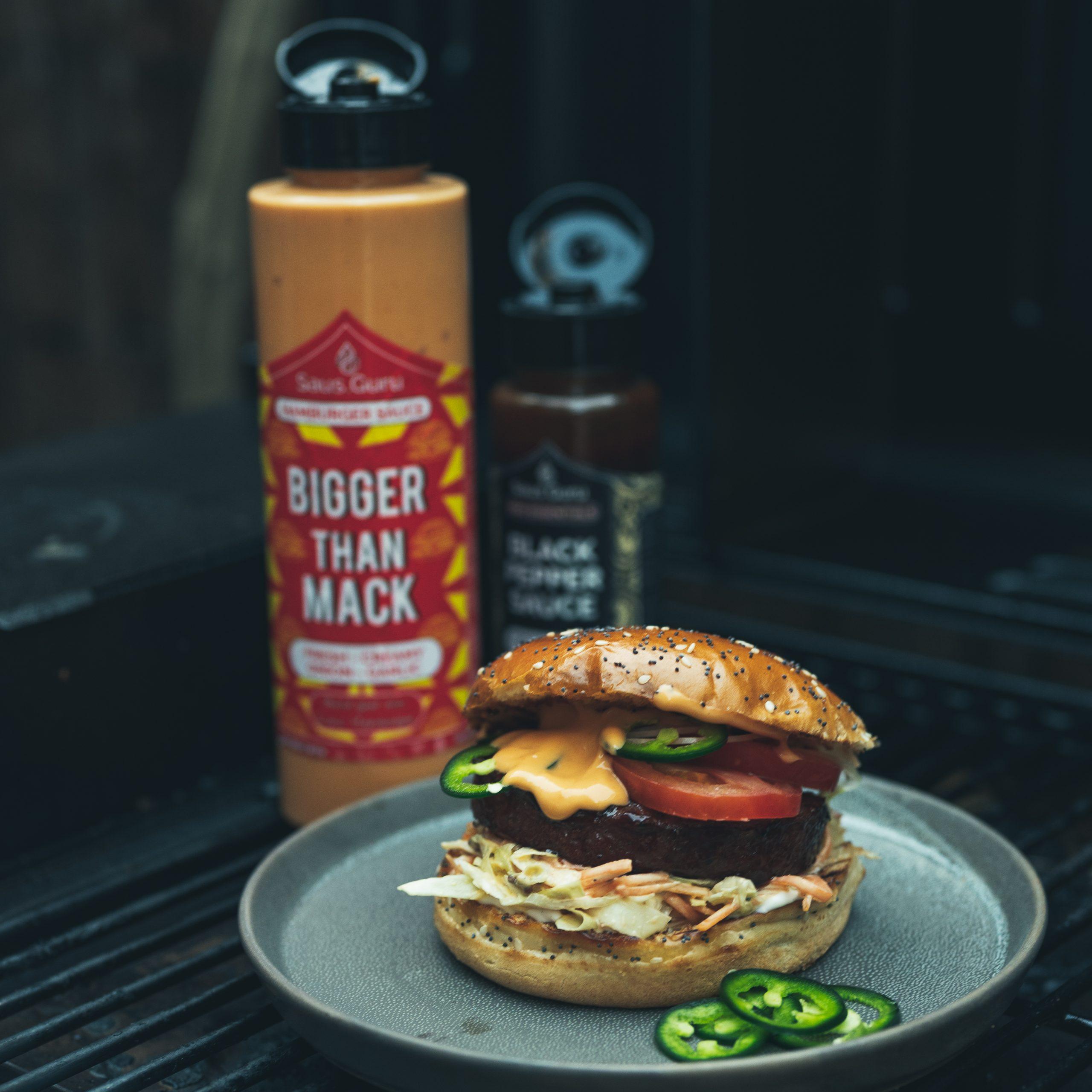Saus Guru with burger