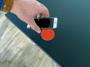 wireless phone charger in table